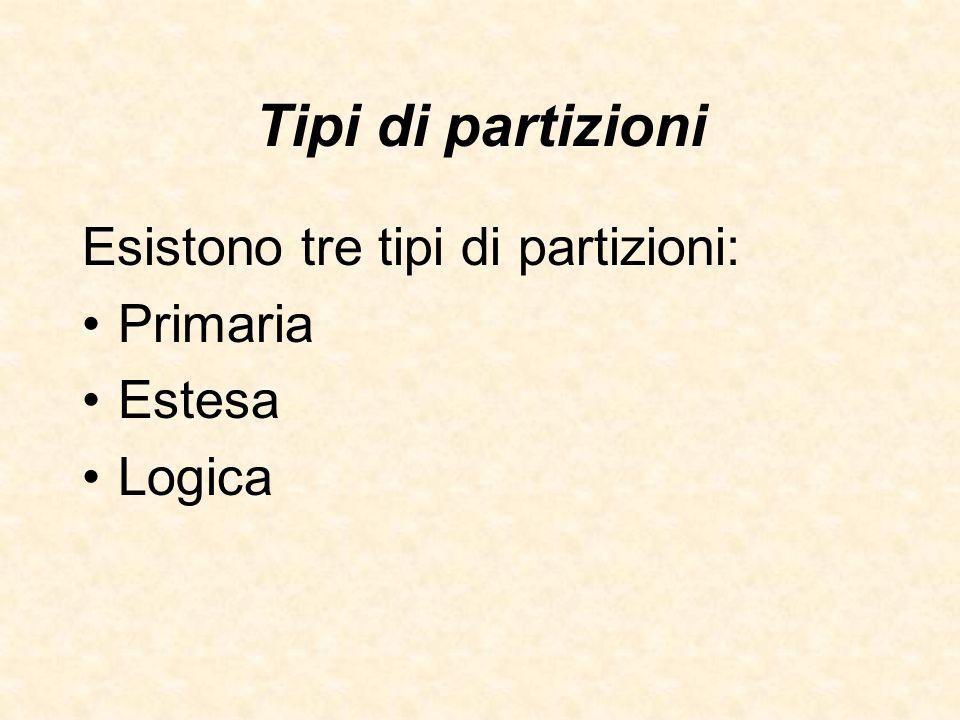 Tipi di partizioni Esistono tre tipi di partizioni: Primaria Estesa