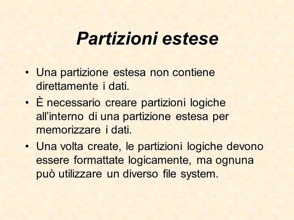 Partizioni estese Una partizione estesa non contiene direttamente i dati.