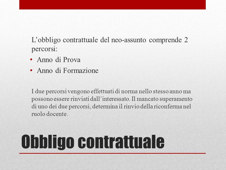 L'obbligo contrattuale del neo-assunto comprende 2 percorsi: