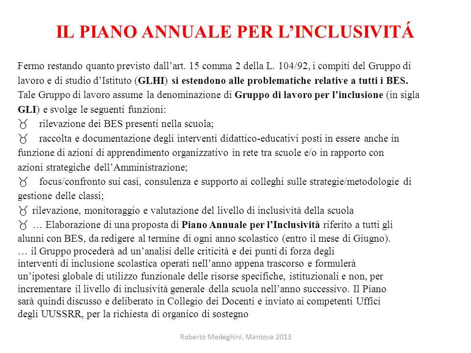 IL PIANO ANNUALE PER L'INCLUSIVITÁ