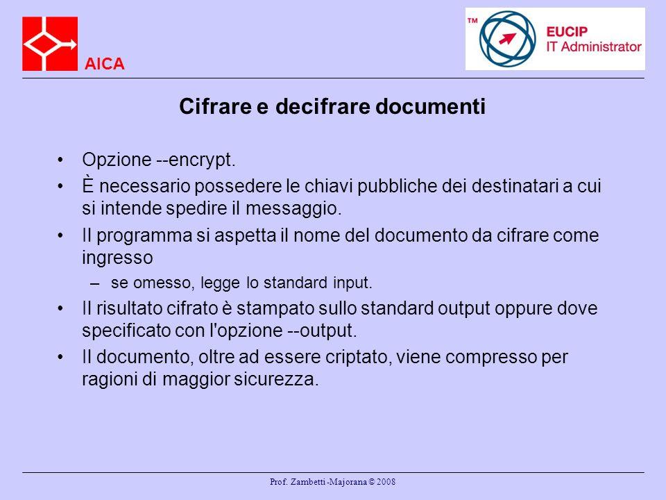 Cifrare e decifrare documenti