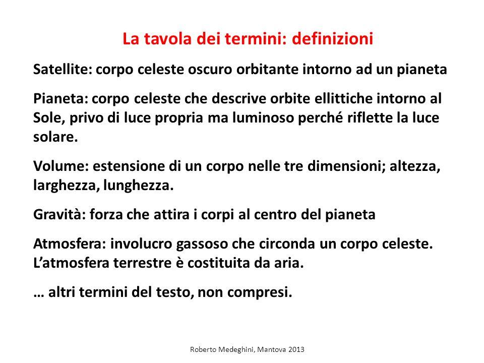 La tavola dei termini: definizioni