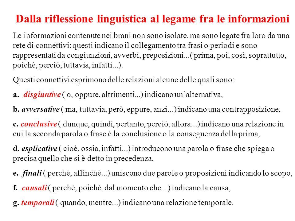 Dalla riflessione linguistica al legame fra le informazioni