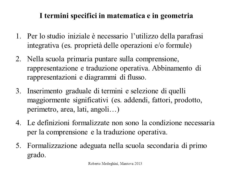 I termini specifici in matematica e in geometria