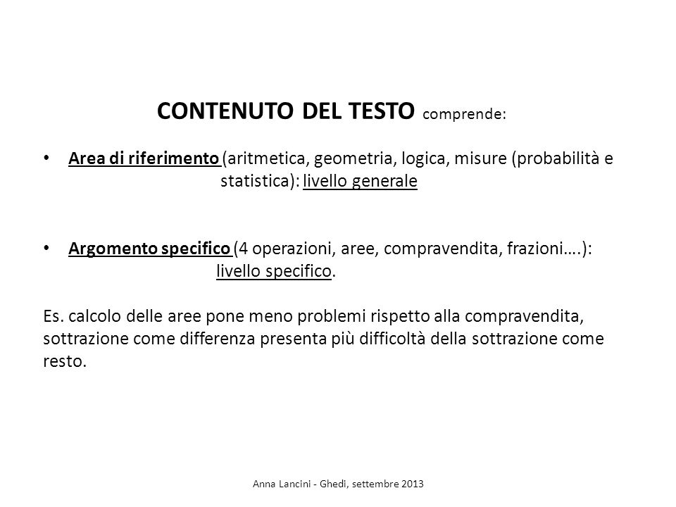 CONTENUTO DEL TESTO comprende: