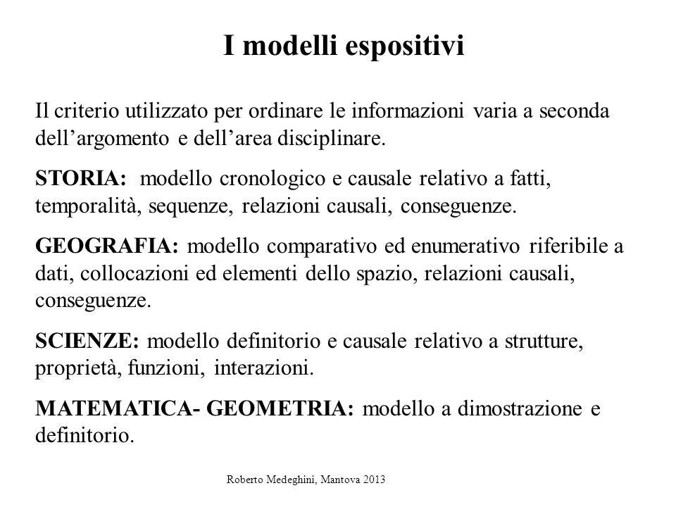 I modelli espositivi Il criterio utilizzato per ordinare le informazioni varia a seconda dell'argomento e dell'area disciplinare.