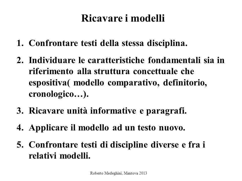 Ricavare i modelli Confrontare testi della stessa disciplina.