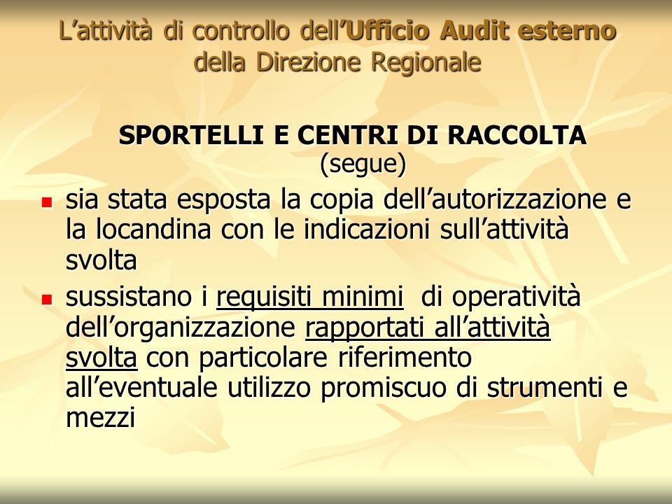 SPORTELLI E CENTRI DI RACCOLTA (segue)