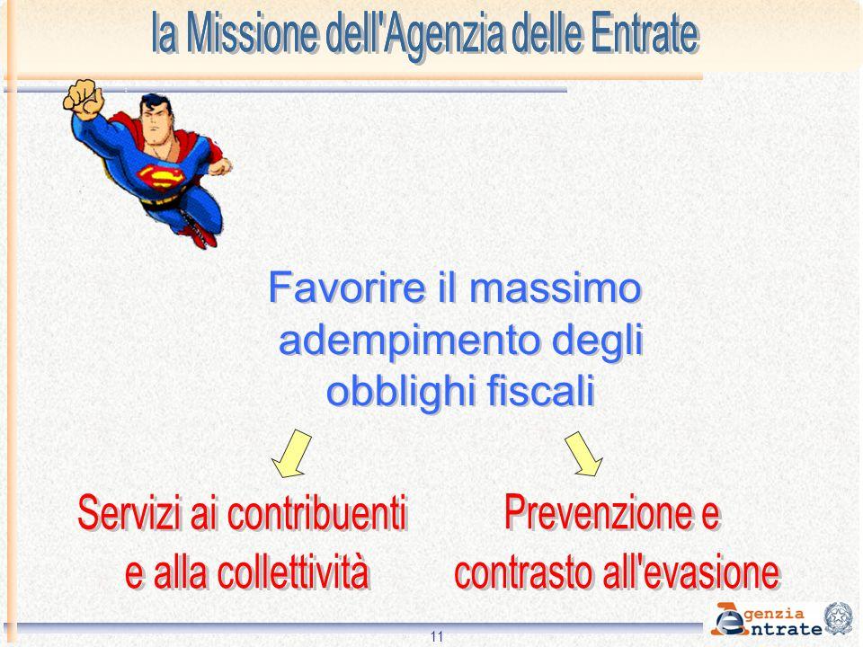 Servizi ai contribuenti e alla collettività Prevenzione e