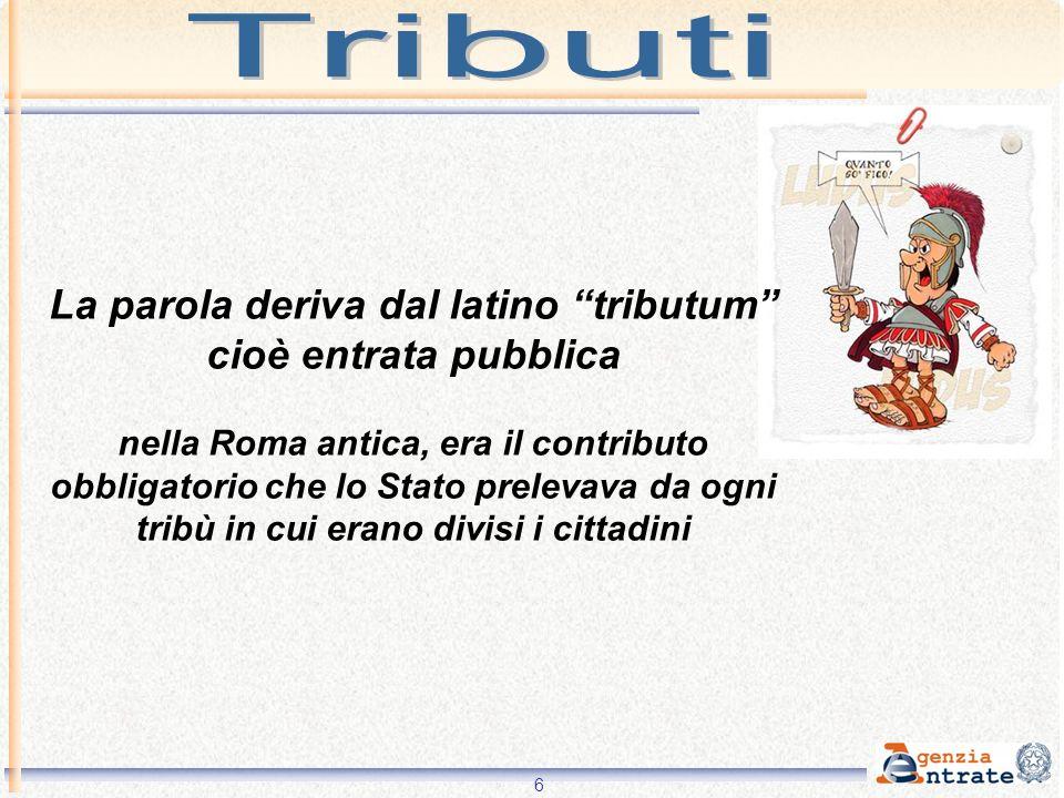 La parola deriva dal latino tributum cioè entrata pubblica