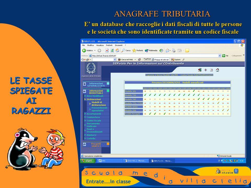 ANAGRAFE TRIBUTARIAE' un database che raccoglie i dati fiscali di tutte le persone e le società che sono identificate tramite un codice fiscale.