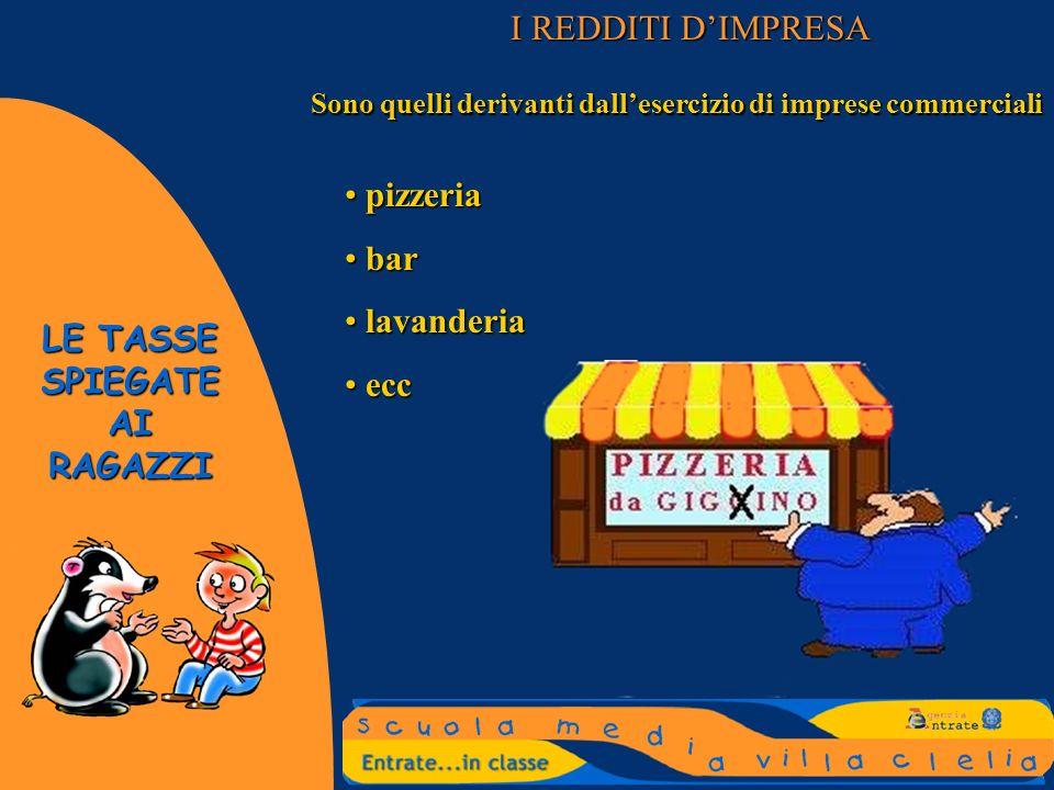 I REDDITI D'IMPRESA pizzeria bar lavanderia ecc