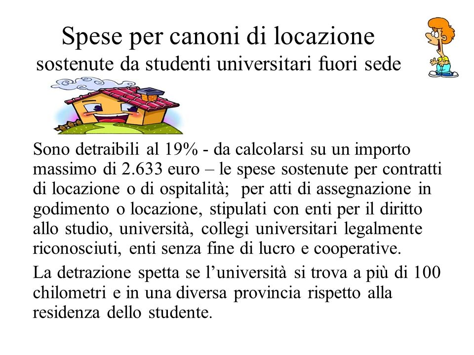 Spese per canoni di locazione sostenute da studenti universitari fuori sede