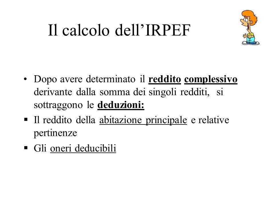 Il calcolo dell'IRPEF Dopo avere determinato il reddito complessivo derivante dalla somma dei singoli redditi, si sottraggono le deduzioni: