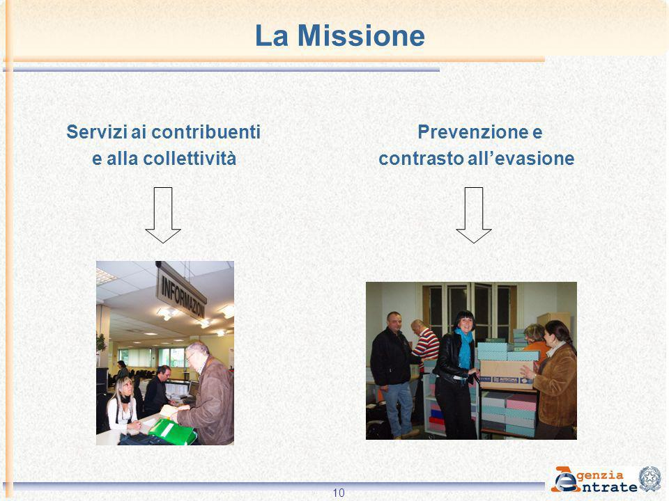 La Missione Servizi ai contribuenti Prevenzione e