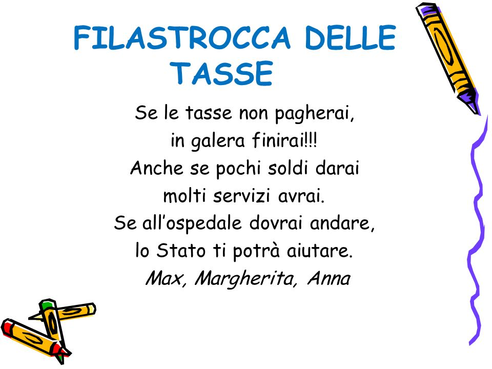 FILASTROCCA DELLE TASSE