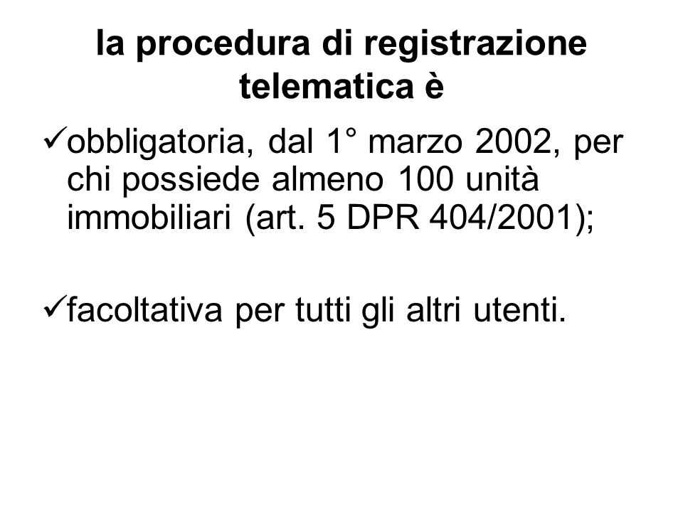la procedura di registrazione telematica è