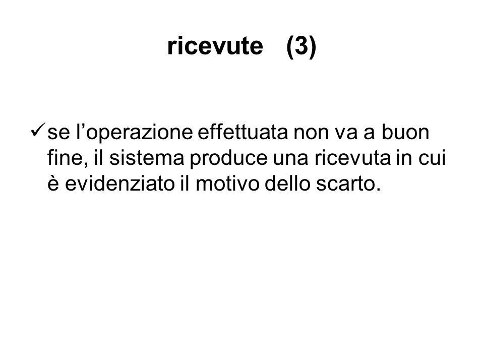 ricevute (3) se l'operazione effettuata non va a buon fine, il sistema produce una ricevuta in cui è evidenziato il motivo dello scarto.