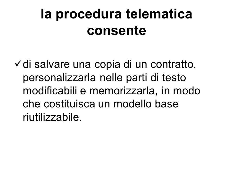 la procedura telematica consente