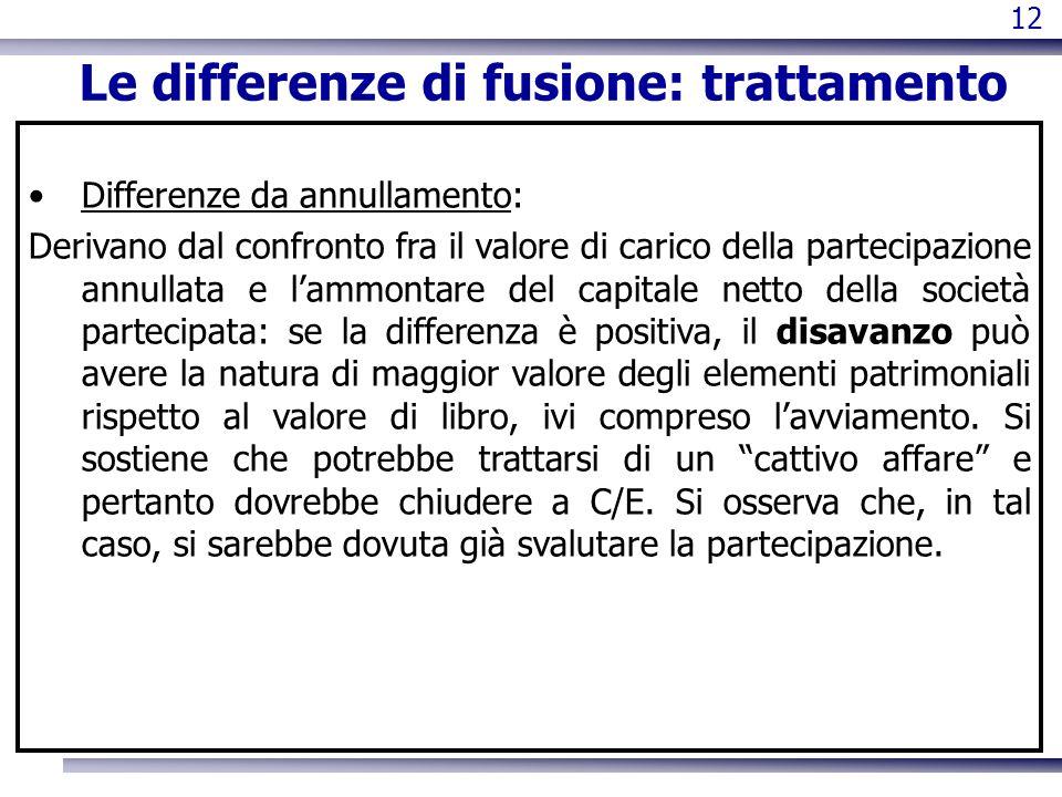 Le differenze di fusione: trattamento