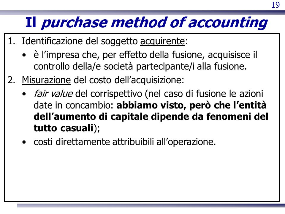 Il purchase method of accounting