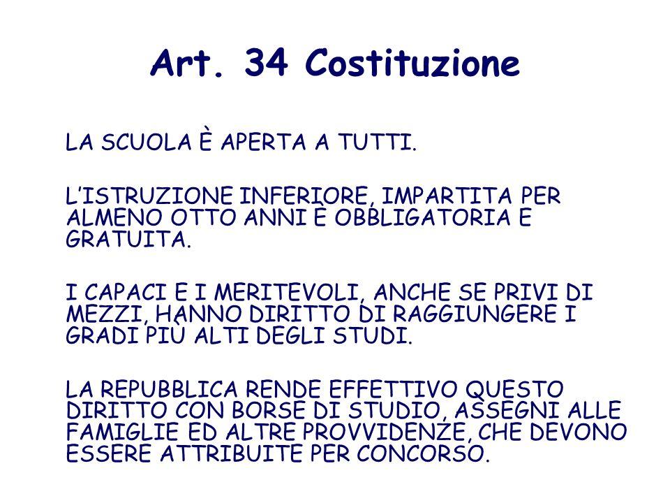 Art. 34 Costituzione LA SCUOLA È APERTA A TUTTI.