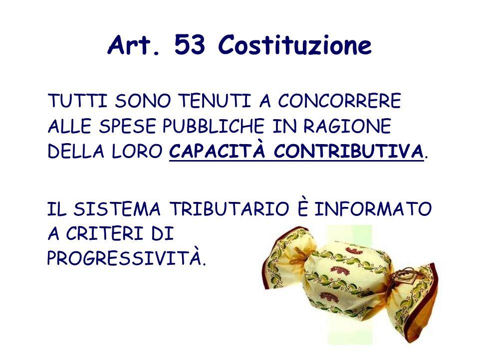 Art. 53 Costituzione TUTTI SONO TENUTI A CONCORRERE ALLE SPESE PUBBLICHE IN RAGIONE DELLA LORO CAPACITÀ CONTRIBUTIVA.