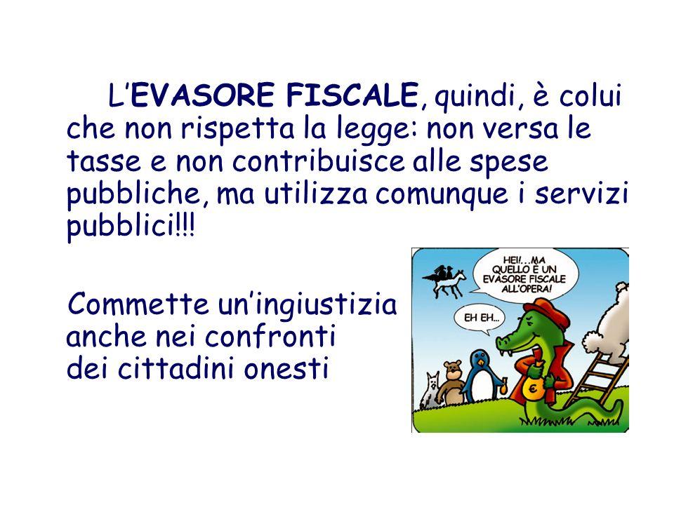 L'EVASORE FISCALE, quindi, è colui che non rispetta la legge: non versa le tasse e non contribuisce alle spese pubbliche, ma utilizza comunque i servizi pubblici!!!
