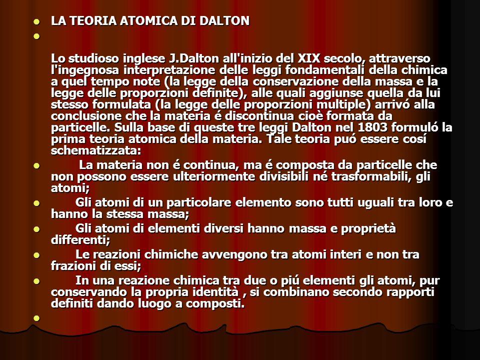 LA TEORIA ATOMICA DI DALTON
