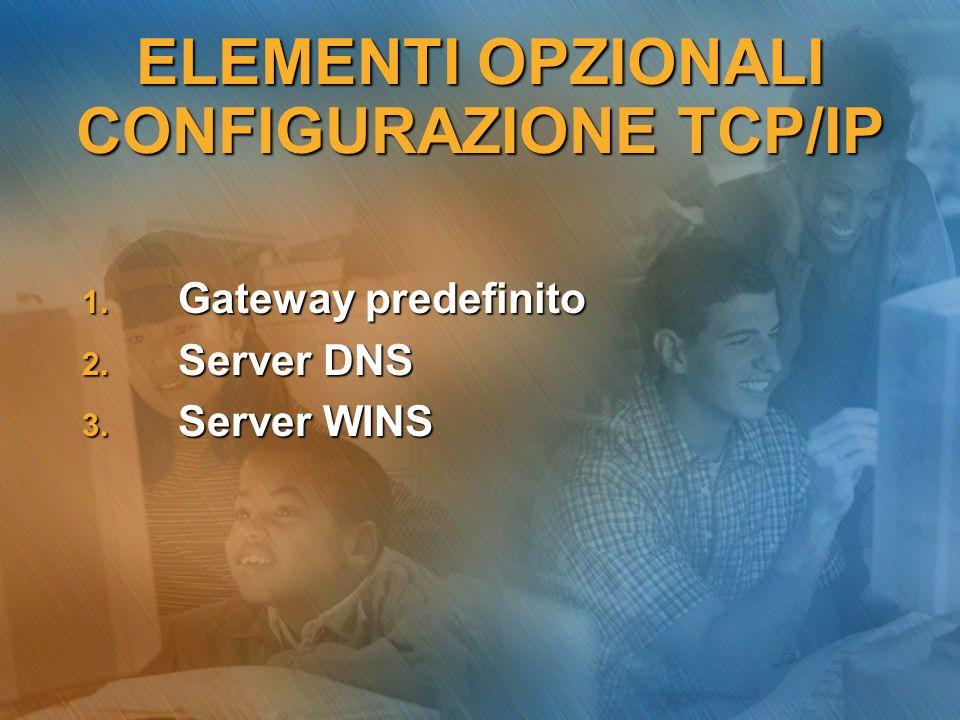 ELEMENTI OPZIONALI CONFIGURAZIONE TCP/IP