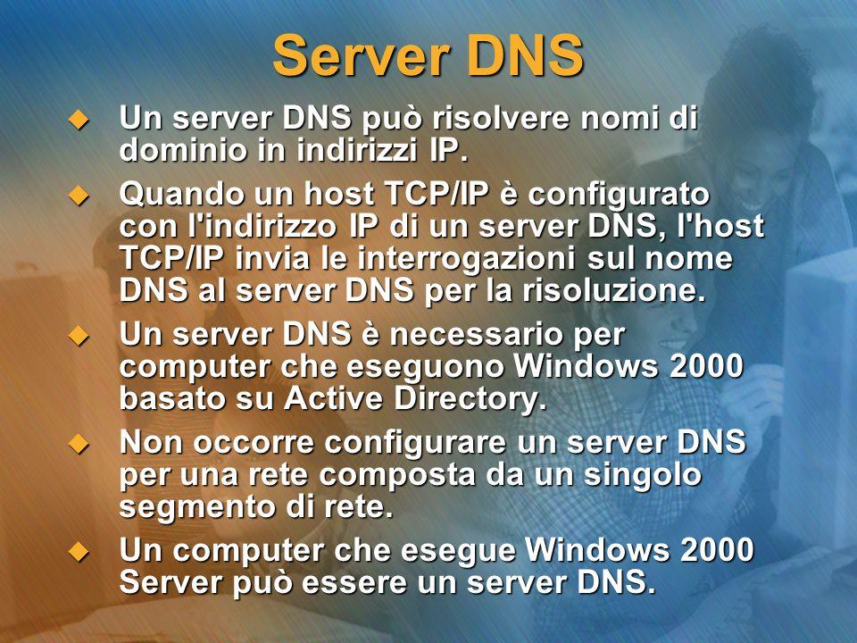 Server DNS Un server DNS può risolvere nomi di dominio in indirizzi IP.