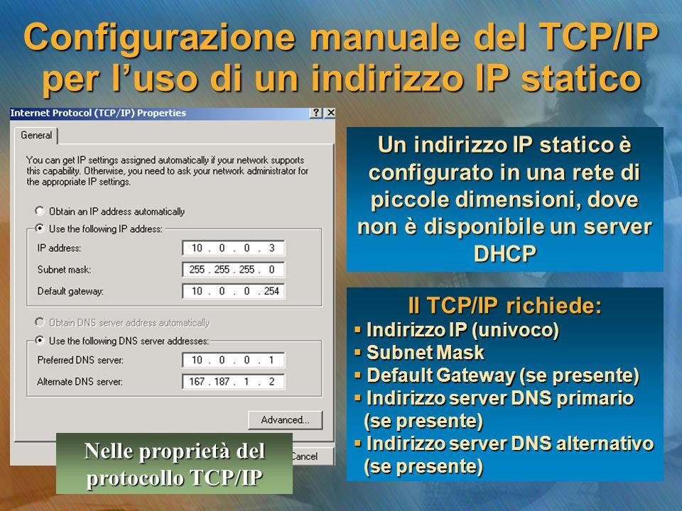 Configurazione manuale del TCP/IP per l'uso di un indirizzo IP statico