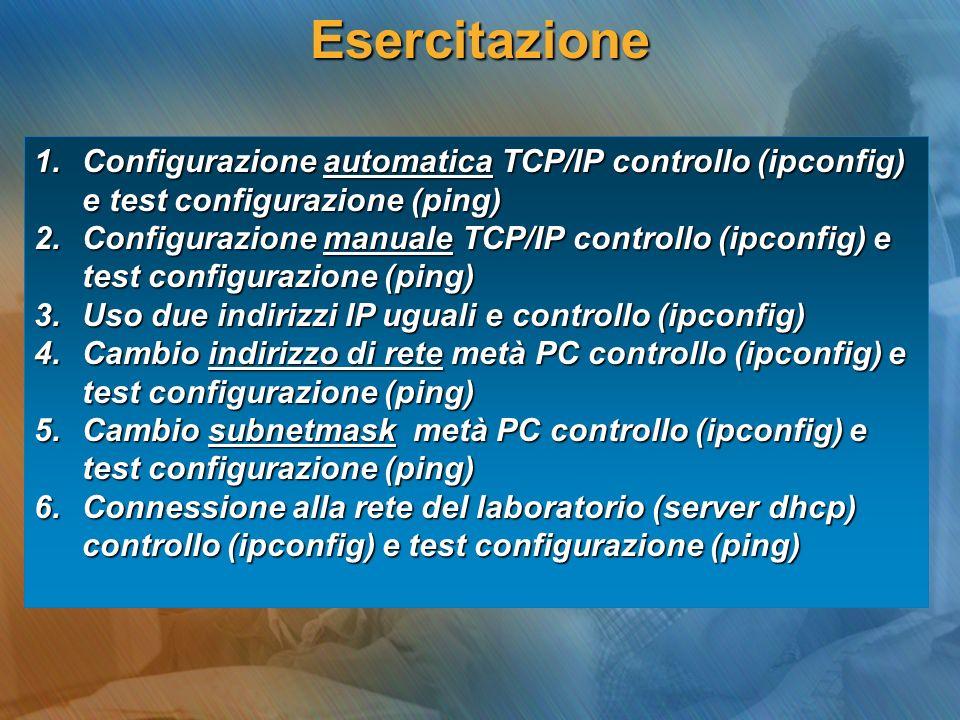 Esercitazione Configurazione automatica TCP/IP controllo (ipconfig) e test configurazione (ping)