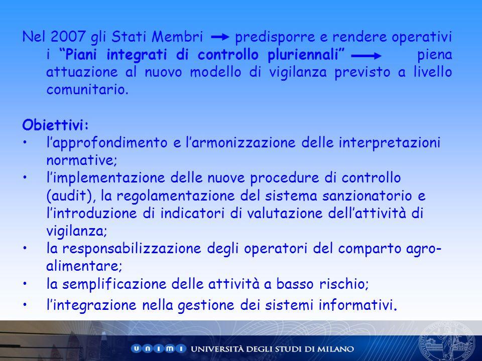 Nel 2007 gli Stati Membri predisporre e rendere operativi i Piani integrati di controllo pluriennali piena attuazione al nuovo modello di vigilanza previsto a livello comunitario.