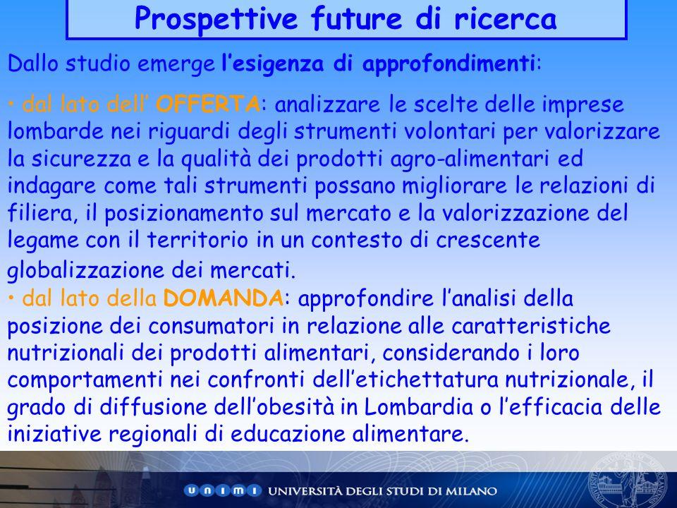 Prospettive future di ricerca
