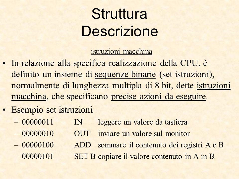 Struttura Descrizione istruzioni macchina