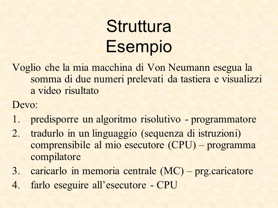 Struttura EsempioVoglio che la mia macchina di Von Neumann esegua la somma di due numeri prelevati da tastiera e visualizzi a video risultato.