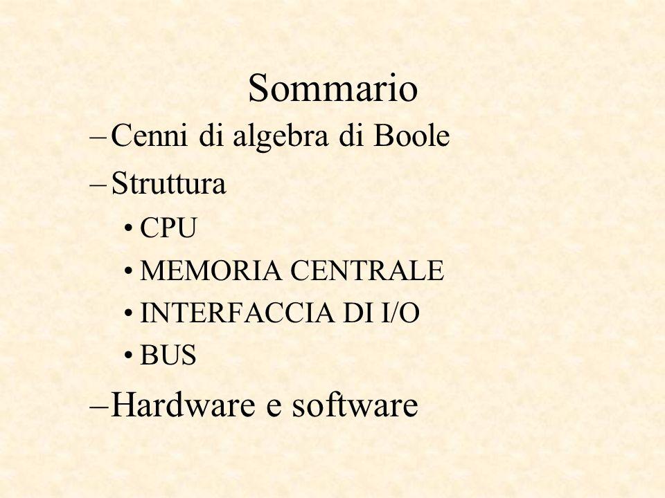 Sommario Hardware e software Cenni di algebra di Boole Struttura CPU