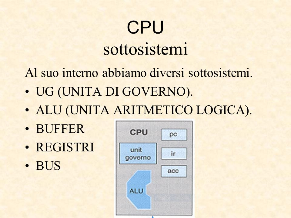 CPU sottosistemi Al suo interno abbiamo diversi sottosistemi.