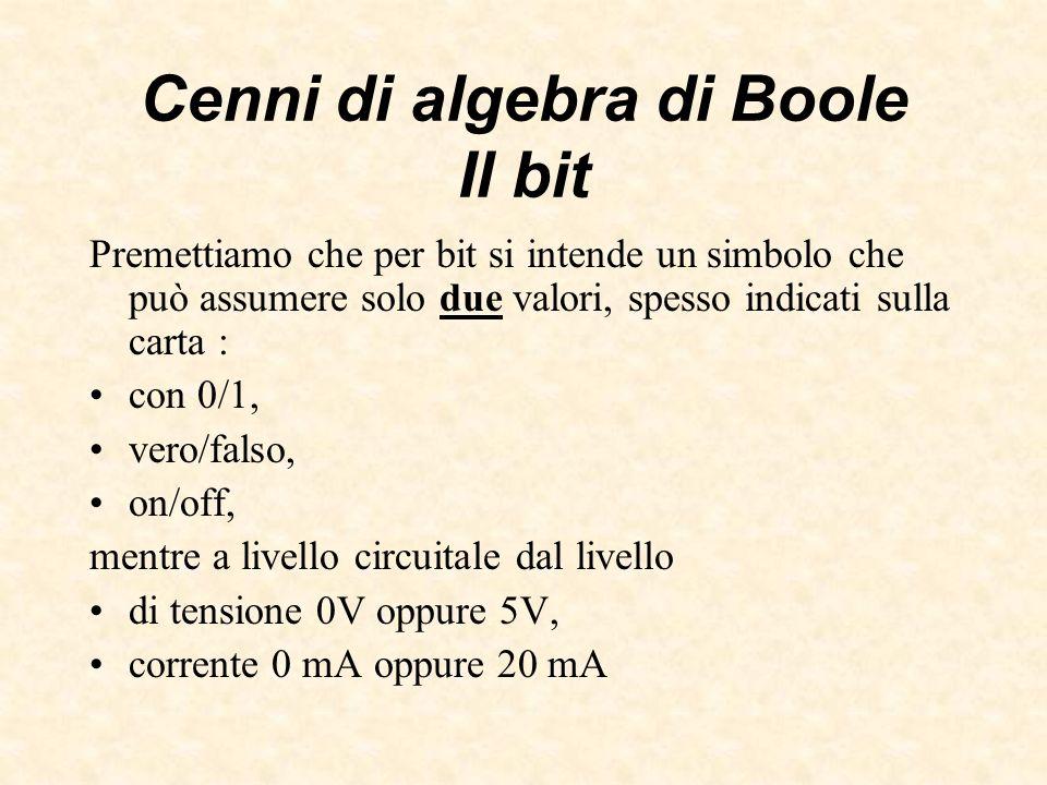 Cenni di algebra di Boole Il bit