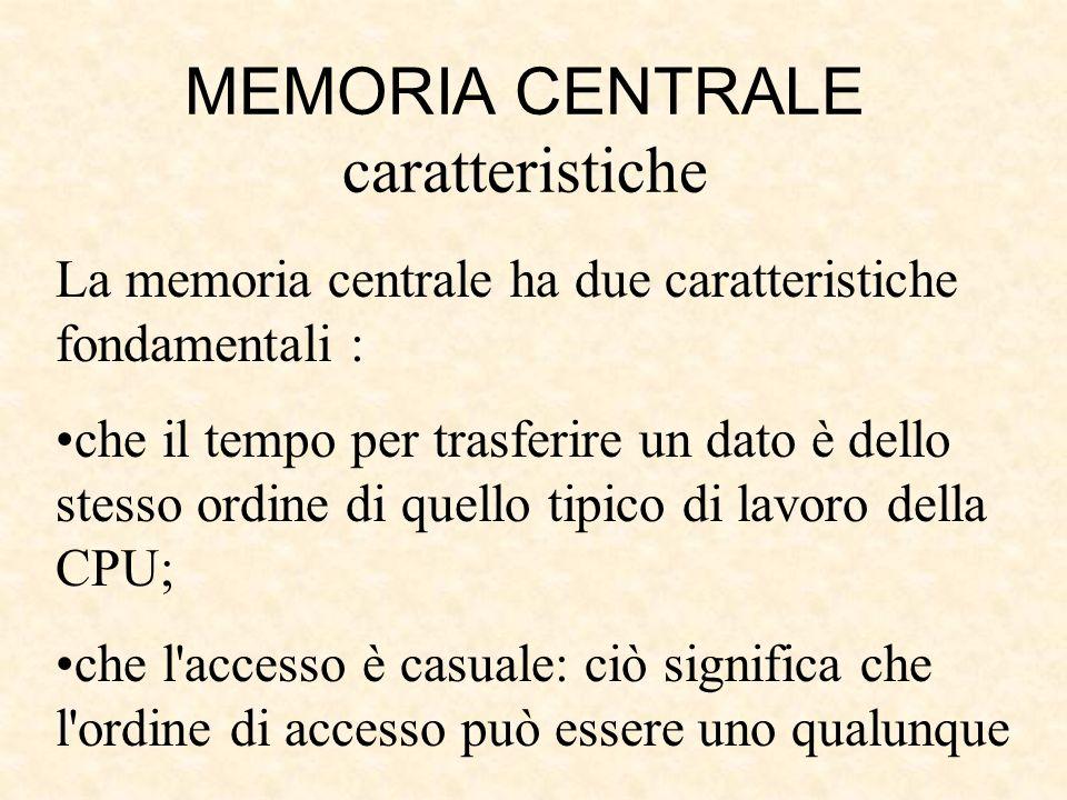 MEMORIA CENTRALE caratteristiche
