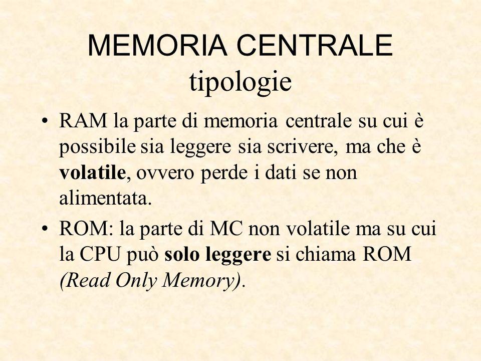MEMORIA CENTRALE tipologie