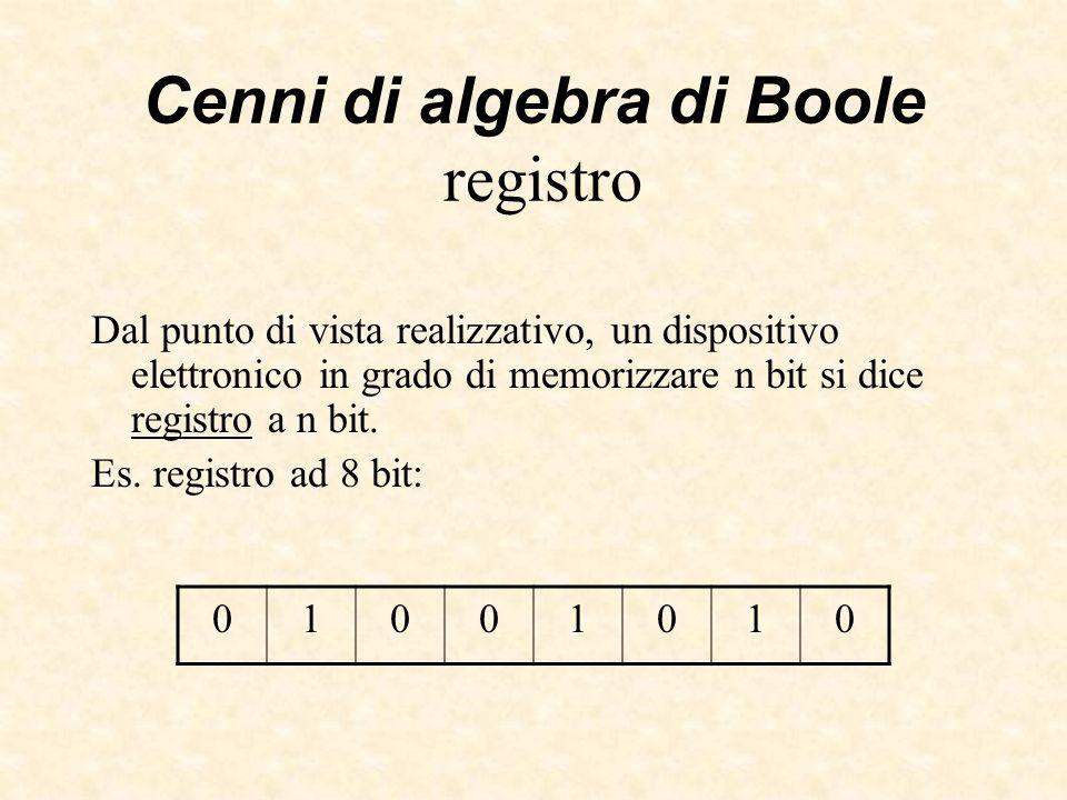 Cenni di algebra di Boole registro