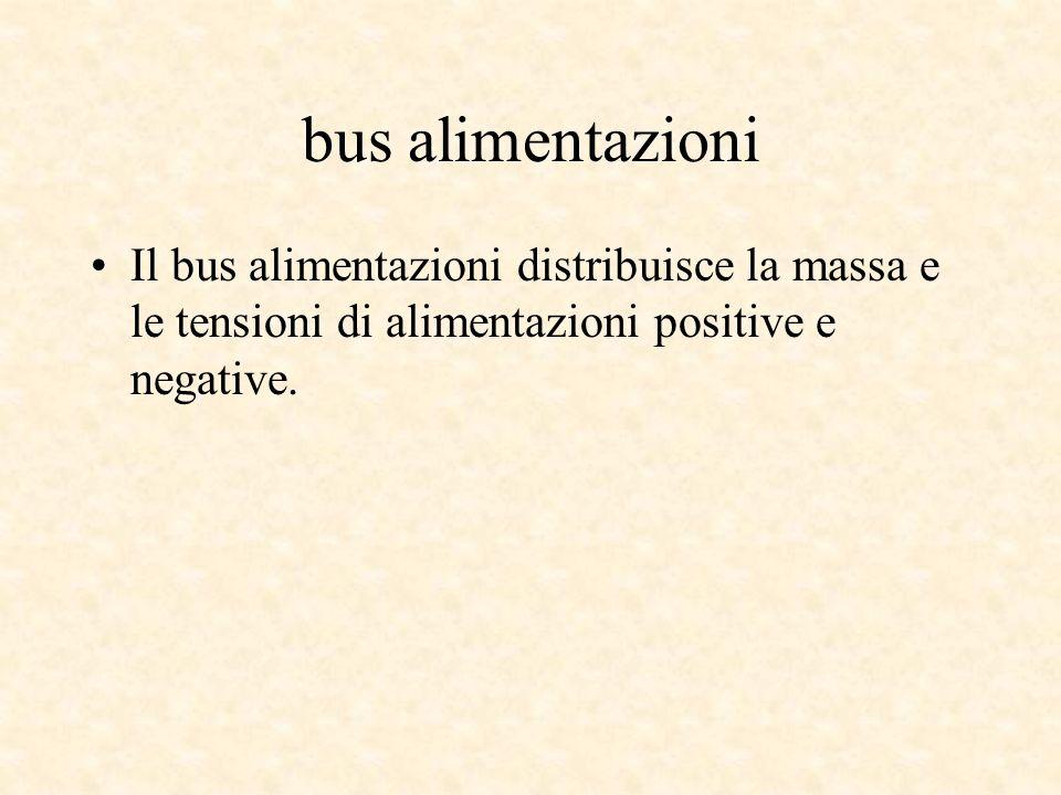bus alimentazioniIl bus alimentazioni distribuisce la massa e le tensioni di alimentazioni positive e negative.