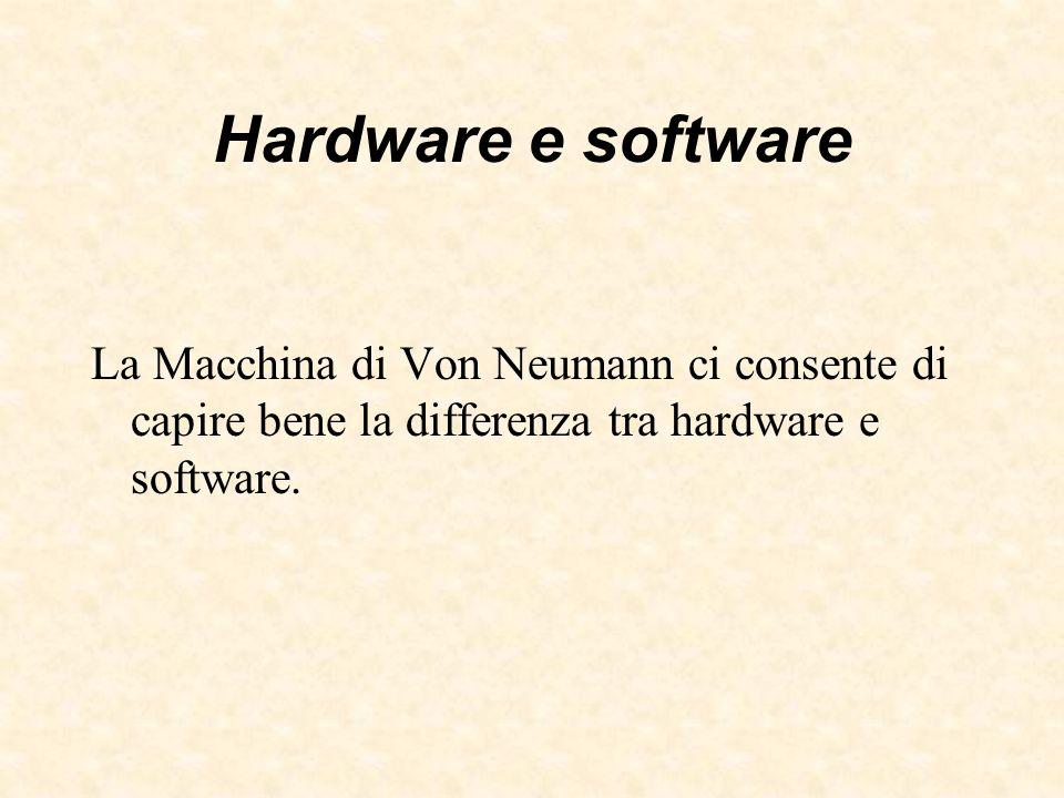 Hardware e softwareLa Macchina di Von Neumann ci consente di capire bene la differenza tra hardware e software.