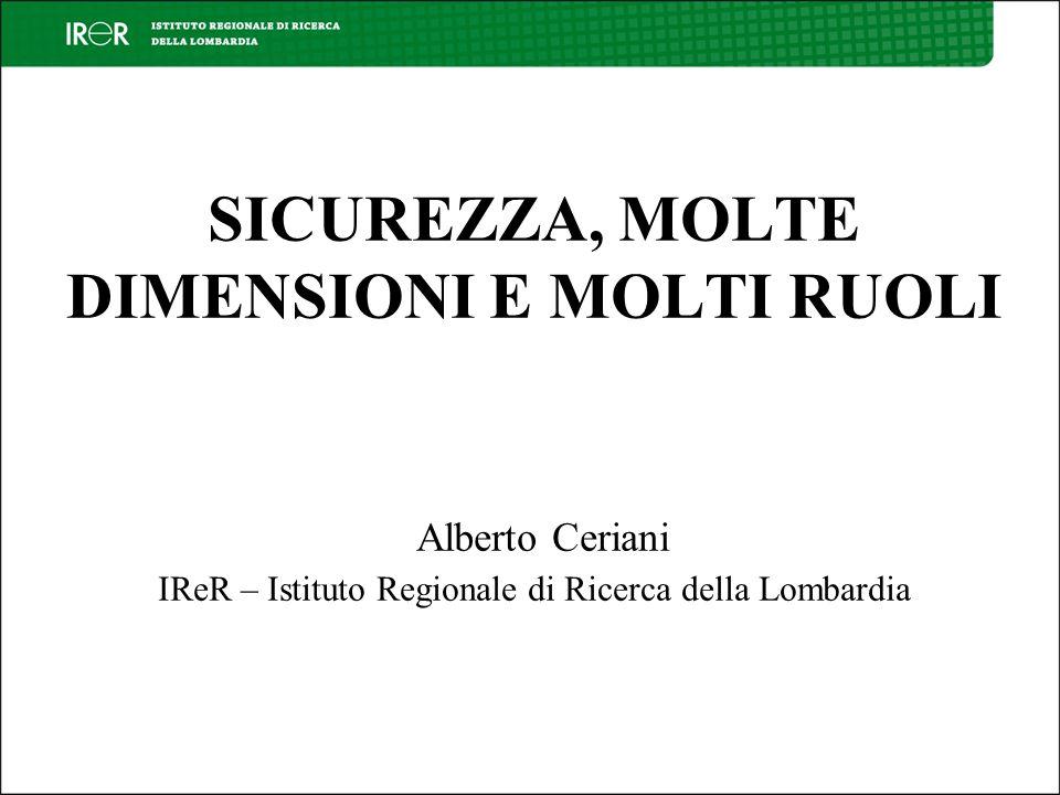 SICUREZZA, MOLTE DIMENSIONI E MOLTI RUOLI Alberto Ceriani IReR – Istituto Regionale di Ricerca della Lombardia