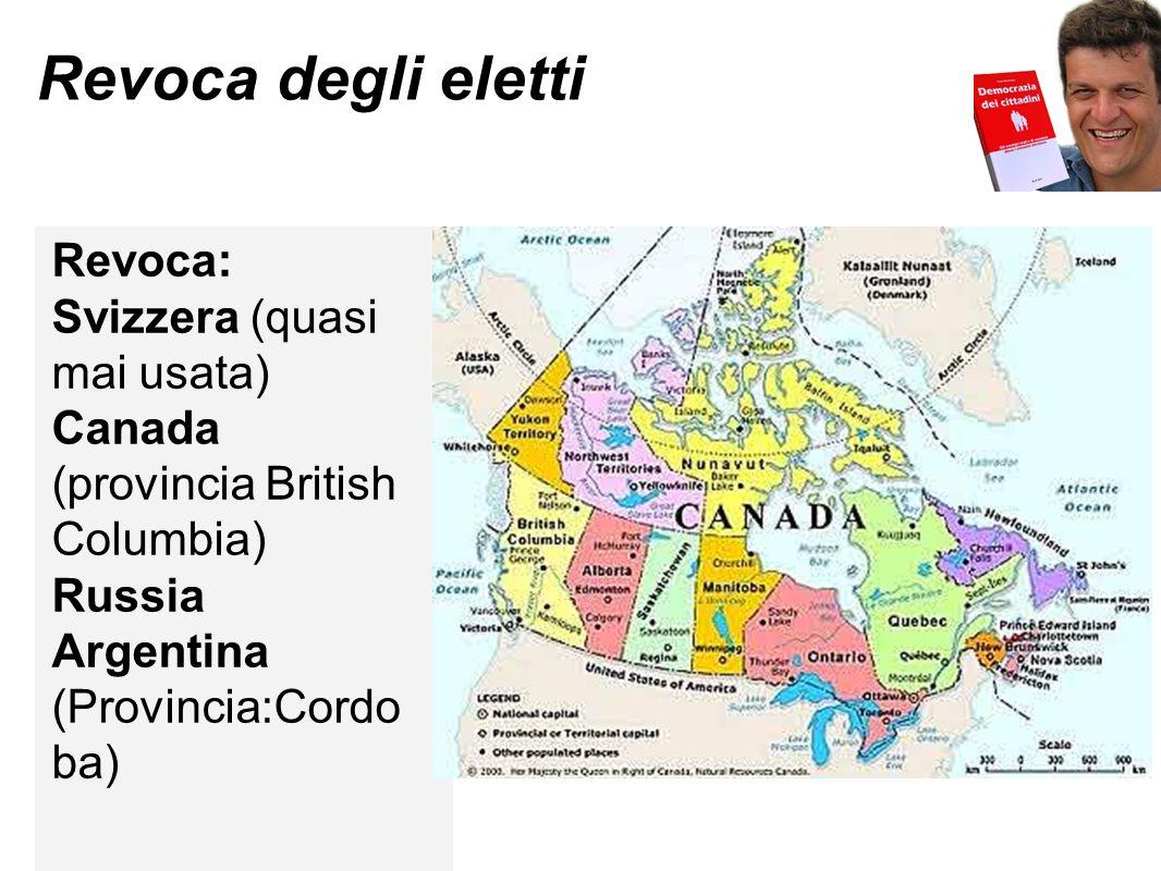 Revoca degli eletti Revoca: Svizzera (quasi mai usata)
