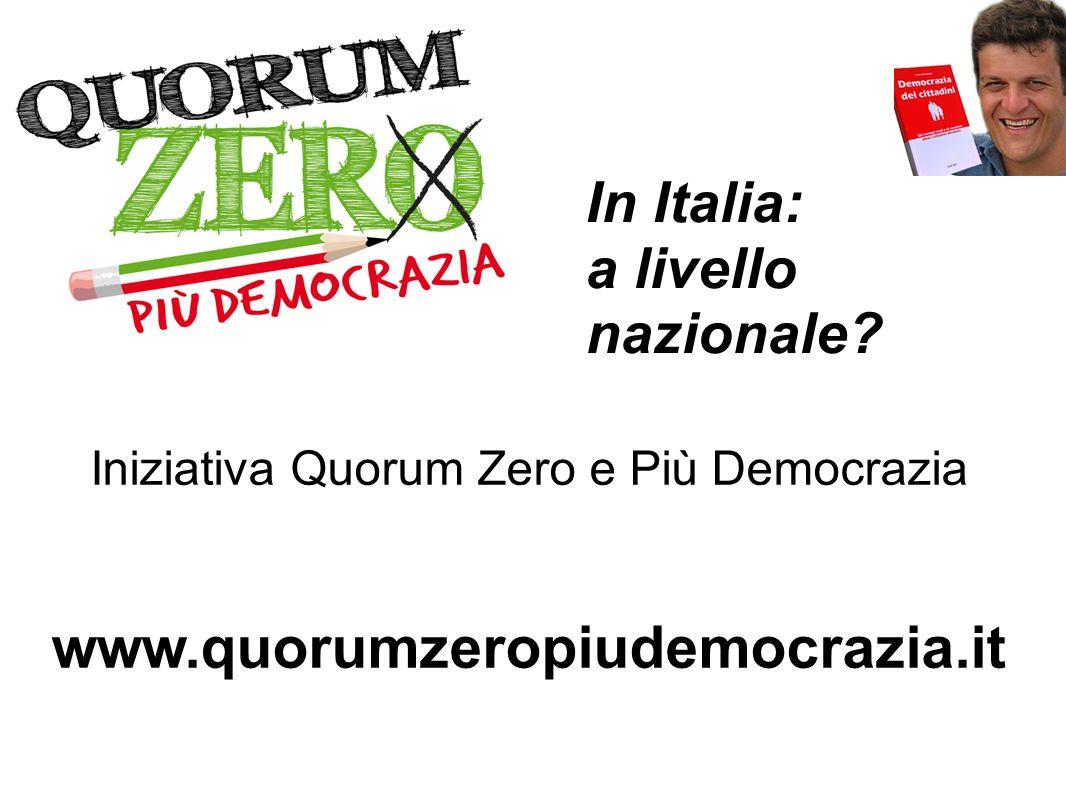 Iniziativa Quorum Zero e Più Democrazia