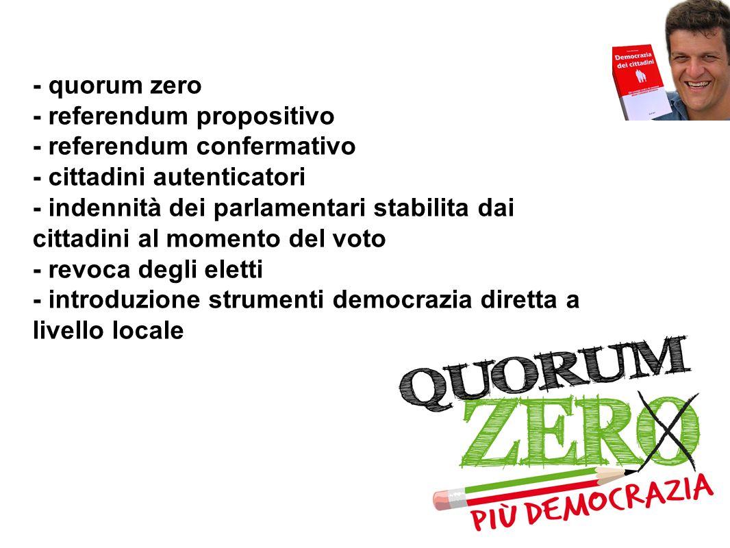 - quorum zero- referendum propositivo. - referendum confermativo. - cittadini autenticatori.