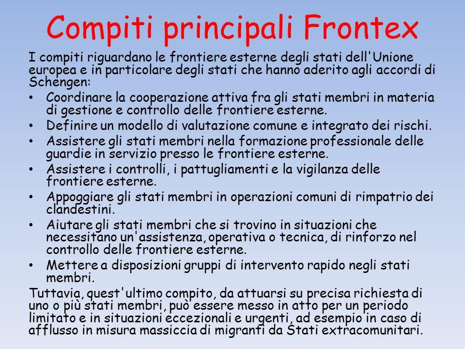 Compiti principali Frontex